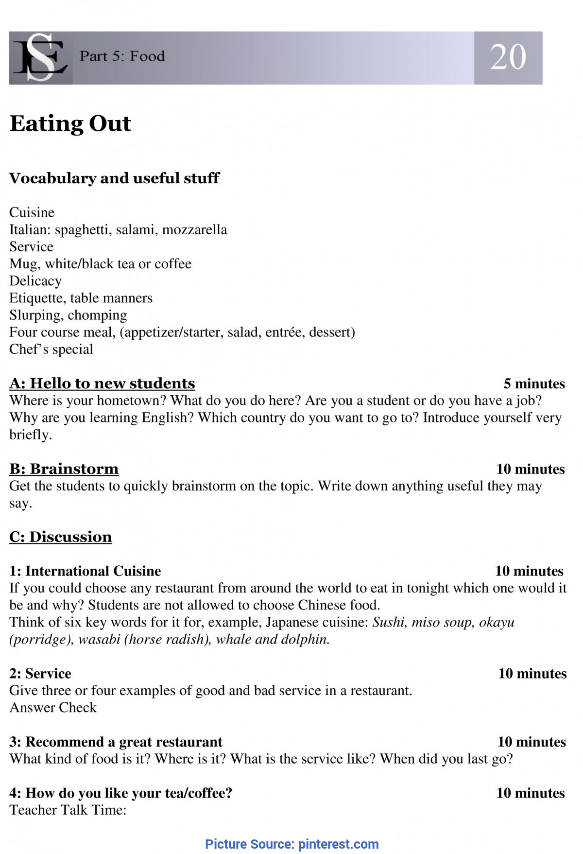 Special Lesson Plan In English 4 Sample Lesson Plan: T20 Eating Out   Prepositions And Worksh