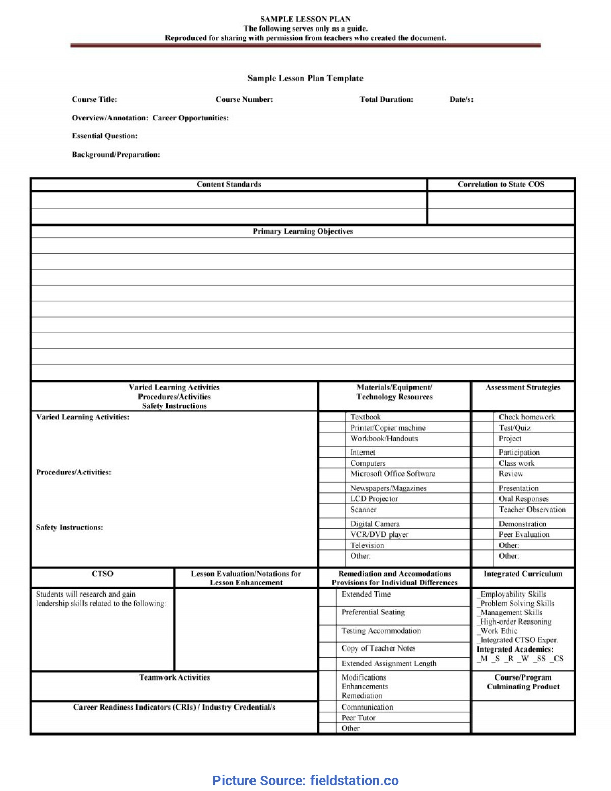 Special Teacher Weekly Lesson Plan Template Pdf Format