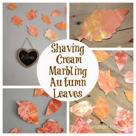 Best Autumn Craft Activities Early Years Shaving Cream Marbling Autumn Leaves - The Imagination