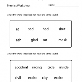 Best First Grade English First Grade Phonics Worksheet - Free Printable Educational Works