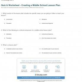 Best How To Create A Lesson Plan For Middle School Quiz & Worksheet - Creating A Middle School Lesson Plan | Study