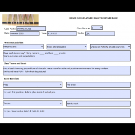 Best Lesson Plan Example For Grade R Dance Class Planner - Beginner Ballet Basic - Editable Balle