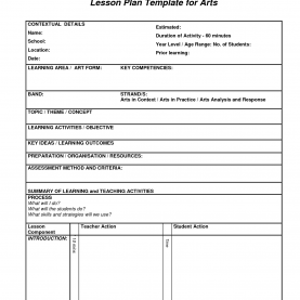 Briliant Art Lesson Plans Lesson Plan Template For Arts | Art Education Essential