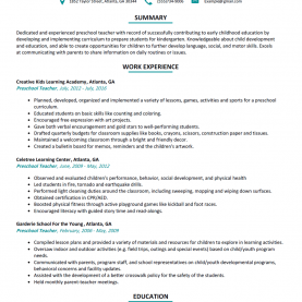 Briliant Lesson Plan For Preschool Teachers Preschool Teacher Resume Sample - Resumelift