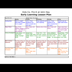 Briliant Lesson Plans For Toddlers May Preschool Lesson Plan Template | Copy Of Pre-K At John Hay Lesso