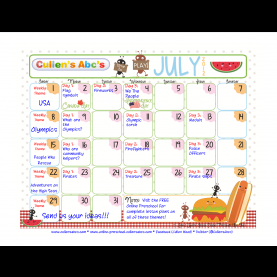 Briliant Nursery School Themes Cullen'S Abc'S July, 2012 Calendar To Be Used As A Guide To Weekl