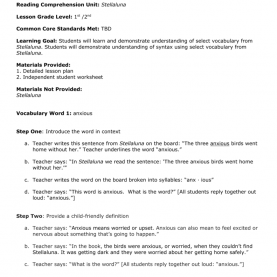 Complex Detailed Lesson Plan In Reading Comprehension Vocabulary And Syntax Le
