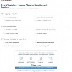 Excellent Art Lessons For Teachers Quiz & Worksheet - Lesson Plans For Substitute Art Teacher