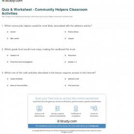 Excellent Community Helpers Worksheets Grade 1 Quiz & Worksheet - Community Helpers Classroom Activities | Study