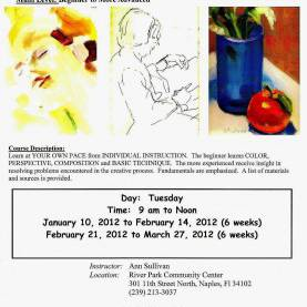 Excellent Drawing Classes For Adults 2012 (Jan-Apr) Multi Media, Multi Level, Open, Art/ Paintin