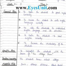 Excellent English Lesson Plan 1 Btc 3Rd Semester Lesson Plan - English - Eyes