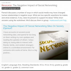 Excellent High School English Lesson Plans Common Core The Negative Impact Of Social Networking - A Free #ela Lesson Pla