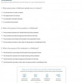 Excellent Webquest Lesson Plan Quiz & Worksheet - Examples Of A Social Studies Webquest | Study