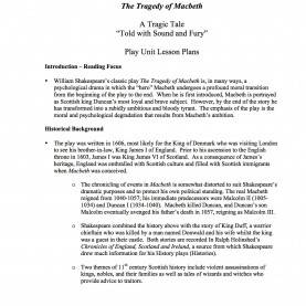 Fresh Reading Lesson Plan In English Macbeth Unit Lesson Plans - A Comprehensive Unit Study O