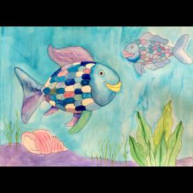Good Art Lesson Plan Rainbow Fish The Rainbow Fish Painting, The Rainbow Fish Art Project, Rainbo