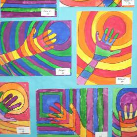 Good Art Lessons For Primary School Teachers Line, Warm And Cool Colors, Complimentary Colors, Op Art, 3R
