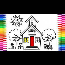 Good Drawing School For Kids How To Draw School | Coloring Pages For Kids - Art Colors For Kid