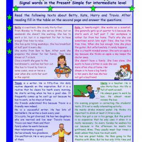 Good Esl Reading Activities Intermediate Reading Comprehension * Signal Words In The Present Simple Tens