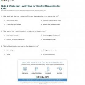 Good High School Lesson Plan Conflict Resolution Quiz & Worksheet - Activities For Conflict Resolution For Kid
