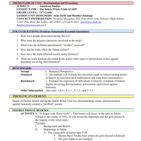 Good Lesson Plan Template For 6 Day Cycle Rediscovering America: The Salem Witch Trials Discussion Quest