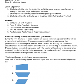 Great 3Rd Grade Quadrilateral Lesson Plans Worksheet. Quadrilateral Properties Worksheet. Mytourvn Workshee