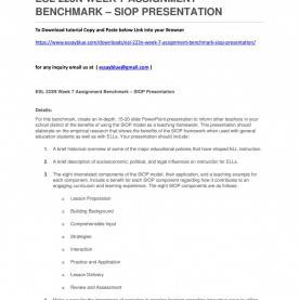 Great Benefits Of Siop Model Esl 223N Week 7 Assignment Benchmark €? Siop Presentation B