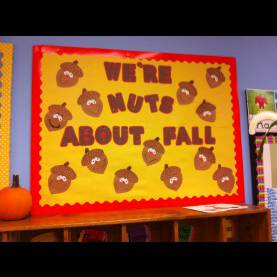 Great Fall Decorations For Daycare Fall Bulletin Board. Acorns, Nuts About Fall. Pre-K And Elementar