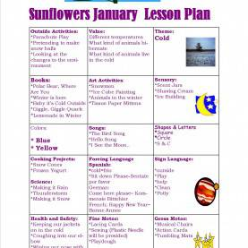 Interesting Infant Lesson Plans Winter Sunflowers January Lesson Plan 2015 « Sun Moon & Stars Learnin