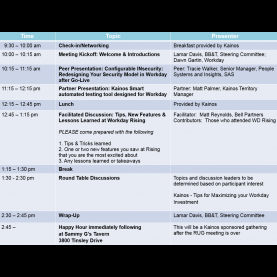 Interesting Lessons Learned Agenda Workday Carolinas Regional User Group Meeting Tickets, Wed, Nov