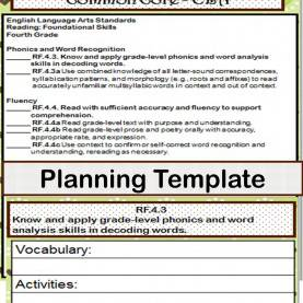 Newest 4Th Grade Phonics Lesson Plans 4Th Grade Ela Common Core Checklist - Lesson Planning For