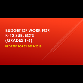 Newest Lesson Plan In English Grade 1 K To 12 Updated Budget Of Work For K-12 Subjects (Grades 1-6) | Depe