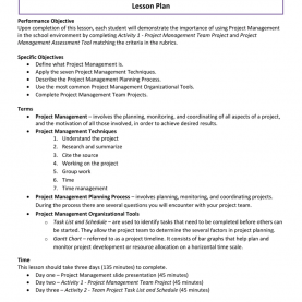 Newest Project Management Lesson Plan Project Management Lesson Plan Practicum In Fashion de