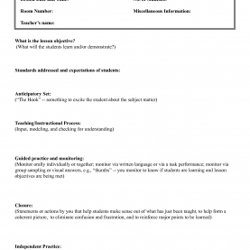 Regular Madeline Hunter Model Madeline Hunter Lesson Plan Example - Targer.Golden-Drago