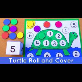 Regular Nursery Maths Activities Turtle Roll And Cover - Preschool Number Activity For Math Center