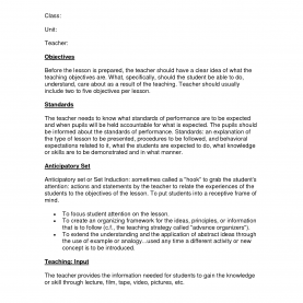 Simple Example Of Madeline Hunter Lesson Plan Format Madeline Hunter Lesson Plan Model By Ivz21134 Jqzqkl3O | Learnin