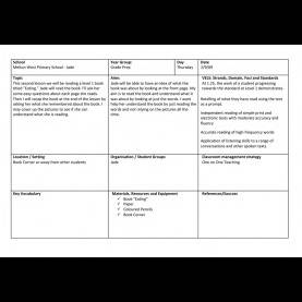 Simple Lesson Plan For Teaching Reading Skills Lesson Plans - Robert Tarzia - Teaching Portf