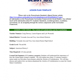 Simple Lesson Plan On Articles For Grade 3 Articles Of Confederation Lesson