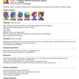 Simple Picasso Lesson Plans Artsonia Teachers Art Project Lesson Plan Starter Picasso Picture