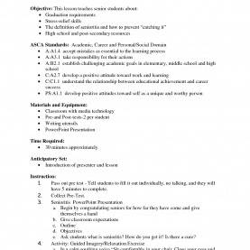Simple Sample Lesson Plan In Senior High School High School Student Resume Samples With Objectives | Business Temp