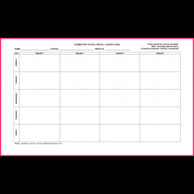 Special Free Weekly Lesson Plan Template Elementary Weekly Lesson Plan Template - Yun5