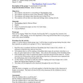 Special Lesson Plan On Book Review The Rainbow Fish Lesson