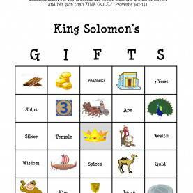 Special Sunday School Lesson Plans For Ages 3-5 King Solomon Bingo: The Lesson Was Learning About All Of The Item