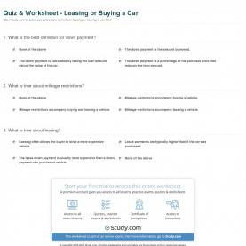 Typical Buying A Car Lesson Plan Quiz & Worksheet - Leasing Or Buying A Car | Study