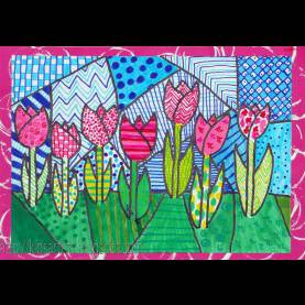 Typical Grade 6 Art Lessons Dutch Tulips In The Style Of Romero Britto, By Malou, Grade 6 Thi