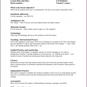 Typical Lesson Plan Format By Madeline Hunter Fresh Danielson Framework Lesson Plan Template | Josh-Hutche