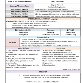 Typical Lesson Plan Template Cefr Year 2 Cefr: Unit 5 Free Time - Very Hungry Caterpillar Lesson