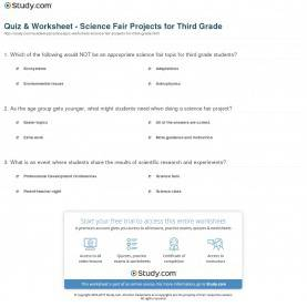 Typical Third Grade Science Quiz & Worksheet - Science Fair Projects For Third Grade | Study