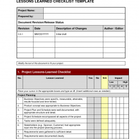 Unusual Lessons Learned Document Project Management Project: Project Lessons Learned Temp