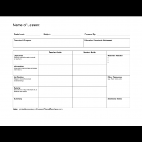 Useful Blank Lesson Plan Template First Grade Lesson Plan Com - Commonpenc