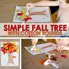 Useful Fall Art Activities Simple Fall Tree With Cotton Rounds - Busy Tod